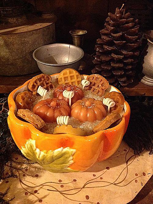 Pumpkin Pecan Waffle Candle Pumpkin Pottery Bowl-