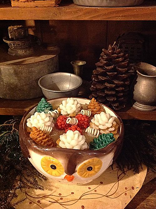Strawberry Spruce Candle Owl Bowl-